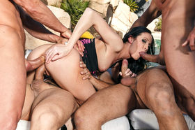 Hailey young reamed by three dudes